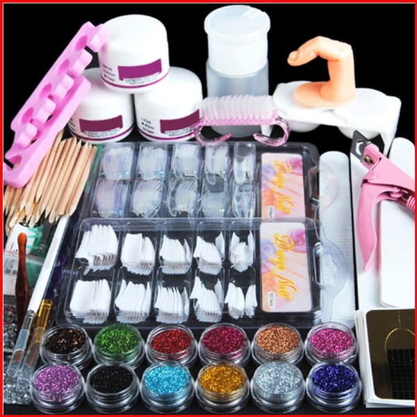 Nail Art Set Acrylic Nail Glitter Powder Nail Art Tips Manicure Tools Kit