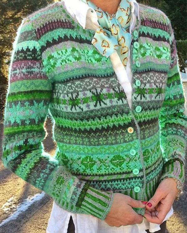 Printed Casual Cardigans Outerwear