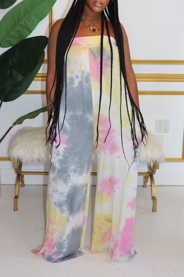 Wrap Chest Tie-dye Jumpsuit