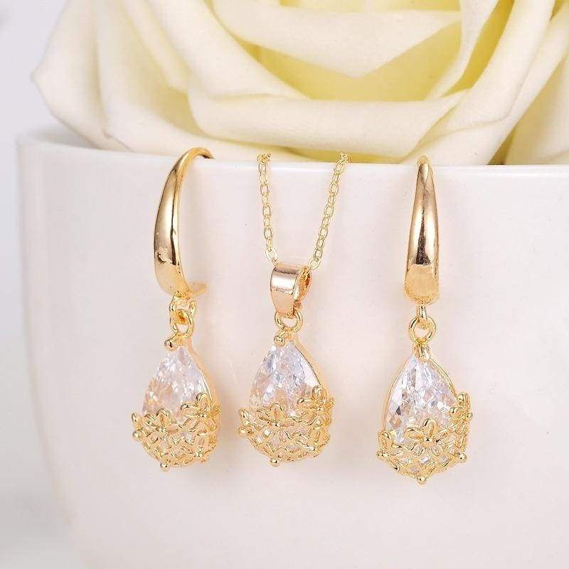 Fine Jewelry 18K Gold Filled Cubic Zirconia CZ Pendant Necklace Drop Earrings Jewelry Set for women