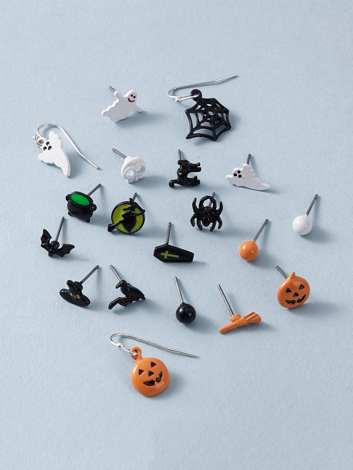 20pairs Halloween Pumpkin & Skull Design Earrings