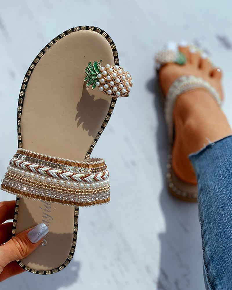 Women Pattern Toe Ring Flat Slipper Pineapple Pearl Bohemian Casual Shoes Beach Sandals Ladies Shoes Platform Sandalias