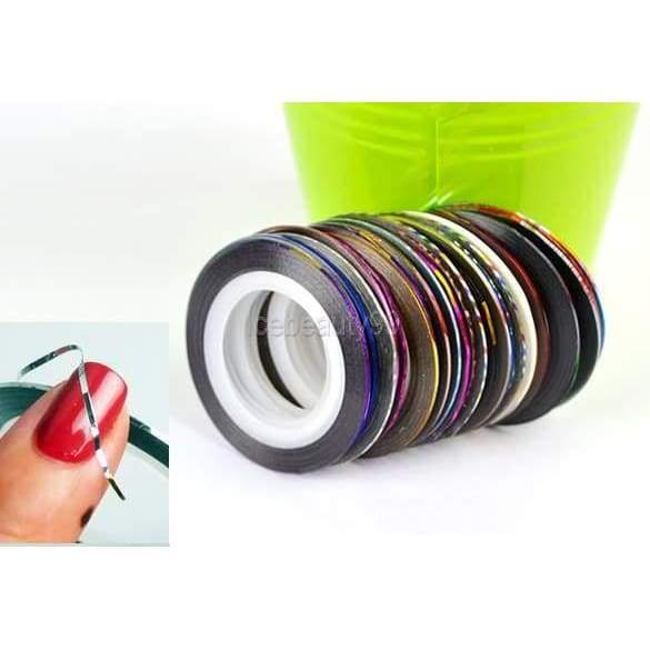 30 pcs Nail Art Decoration Sticker Mixed Colors Rolls nail Strip Tape Line
