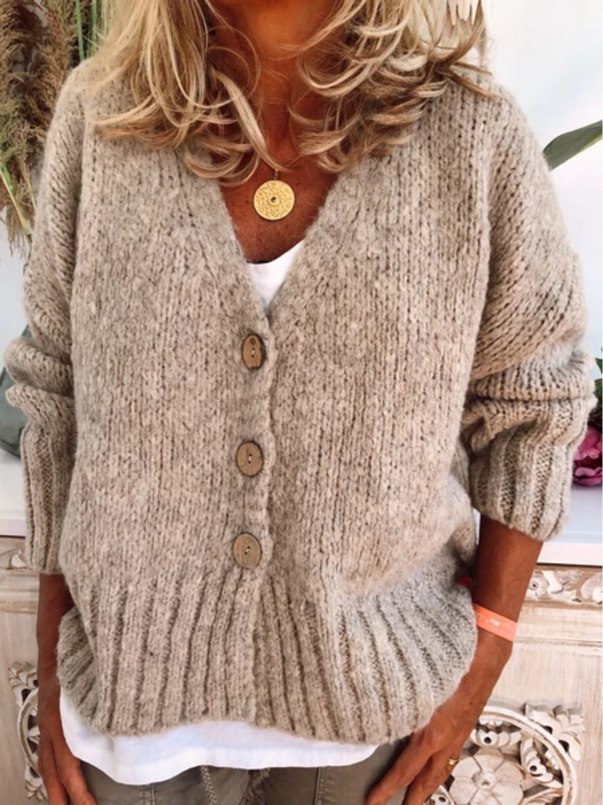 Women Casual Plus Size button Sweater Cardigan