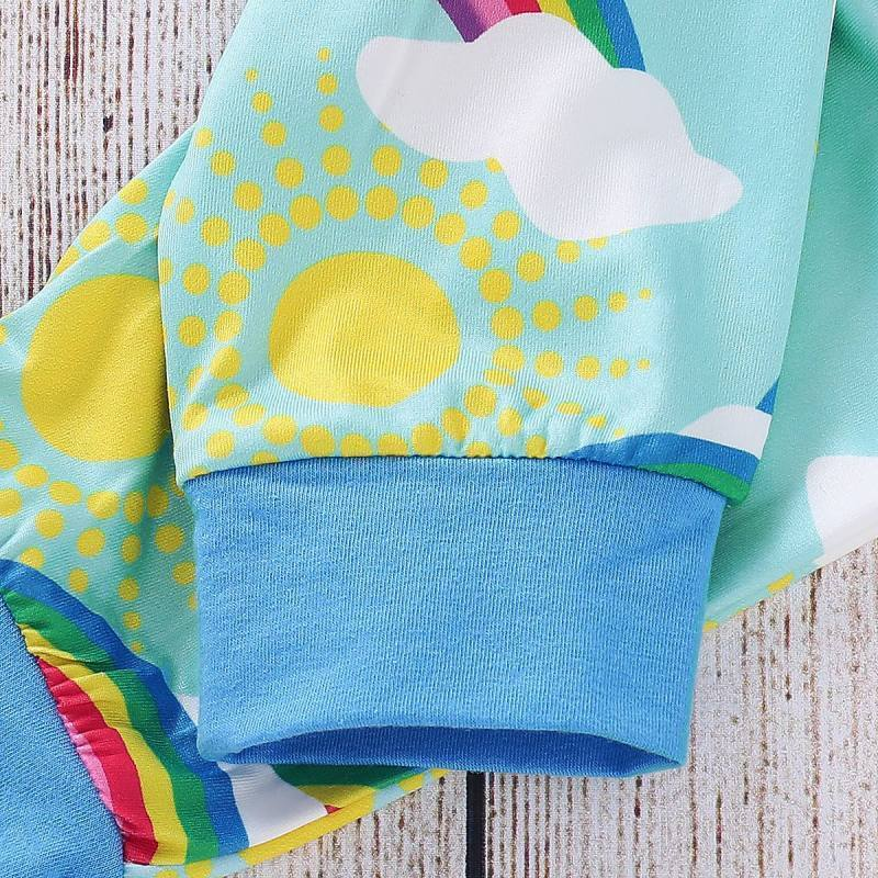 3-piece Baby Rompers Pants Sets Rainbow Print Cute Girls Suits With Hat