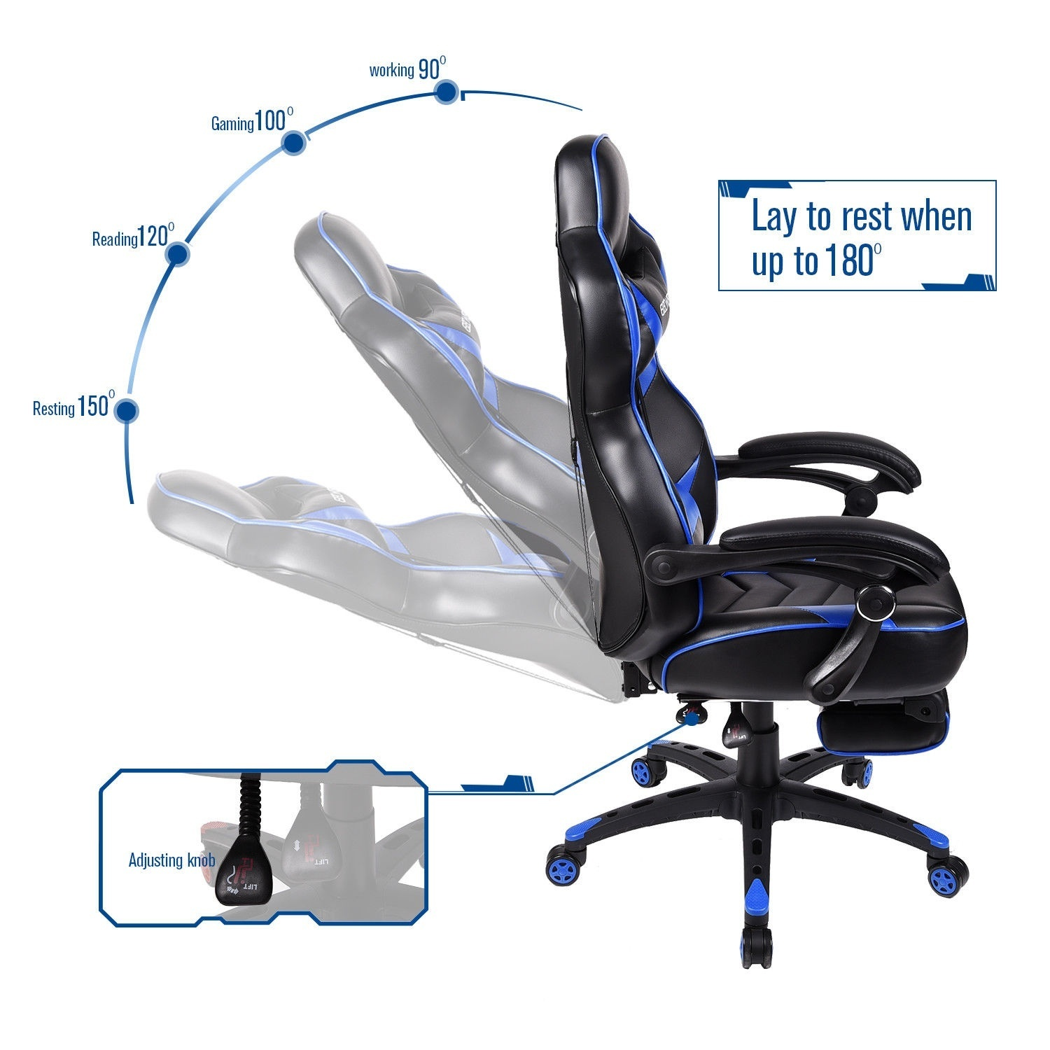 High Back Swivel Chair Racing Gaming Chair Rotary Office Chair w/Footrest