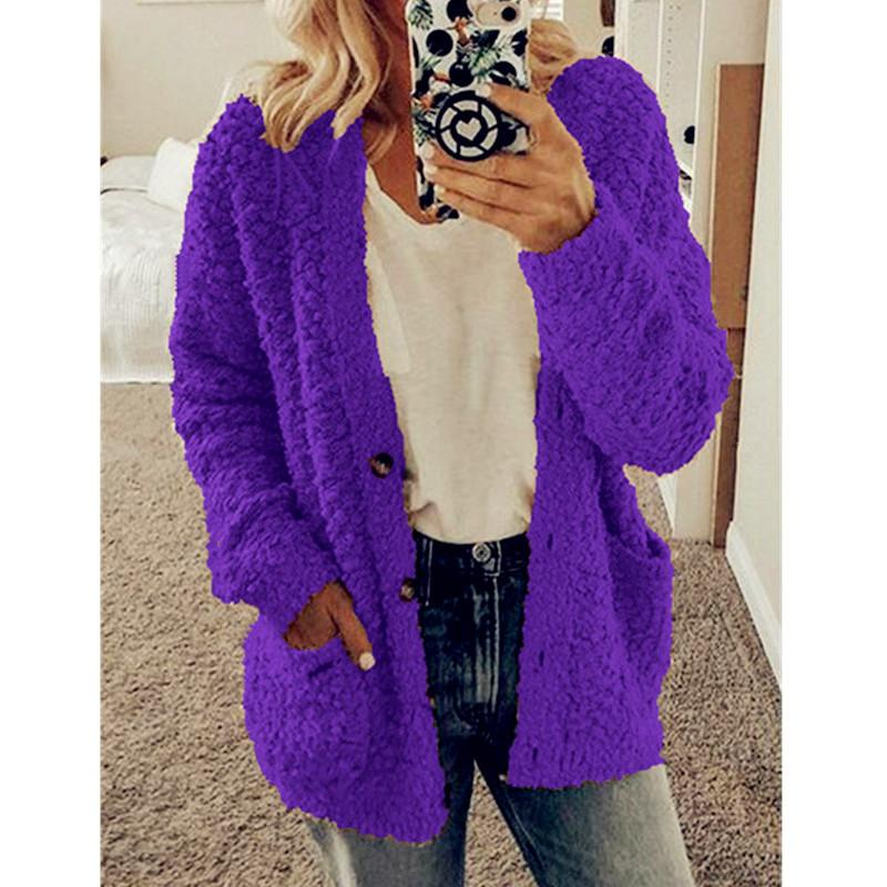 Women's popcorn cardigan with pockets solid button up cardigan weater