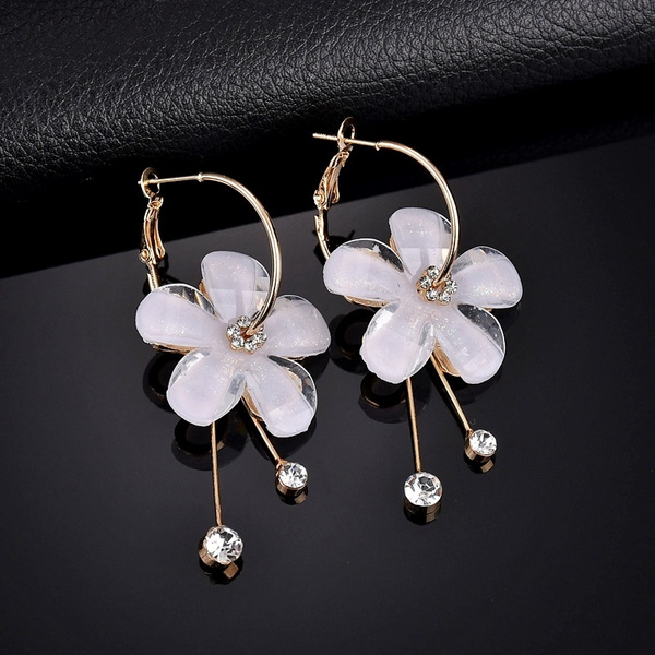 New Crystal Tassel Pendant Earrings For Women Fashion Gold Long Large Hoop Earrings Zircon Jewelry