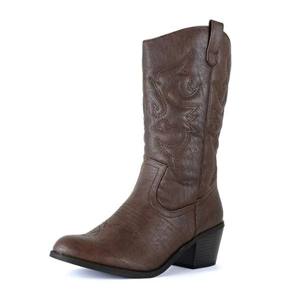 Women's Winter Western Cowgirl Cowboy Boots Vintage Motorcycle Riding Boots Knee High Boots Thick High Heel Leather Boots Botas De Mujer Bottes