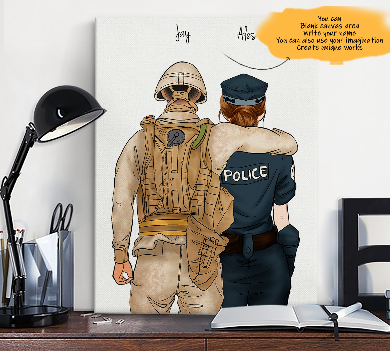 He is My Friend! Hand Draw Custom Canvas-Print Gift Soldier-Tan&Police1