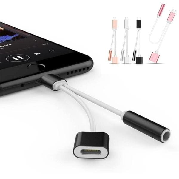 2 in 1 IPhone Splitter 3.5mm Audio Jack Portable Sync Data Cable Mobile Phone Charging Cables