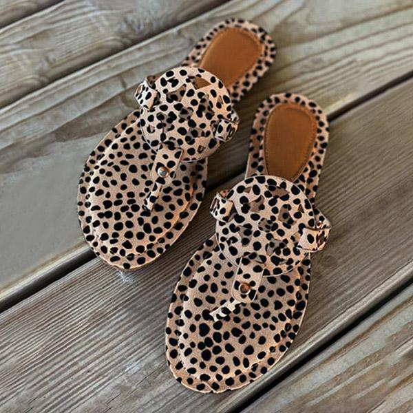 Faddishshoes Leopard Printed Hollow Out Beach Slippers