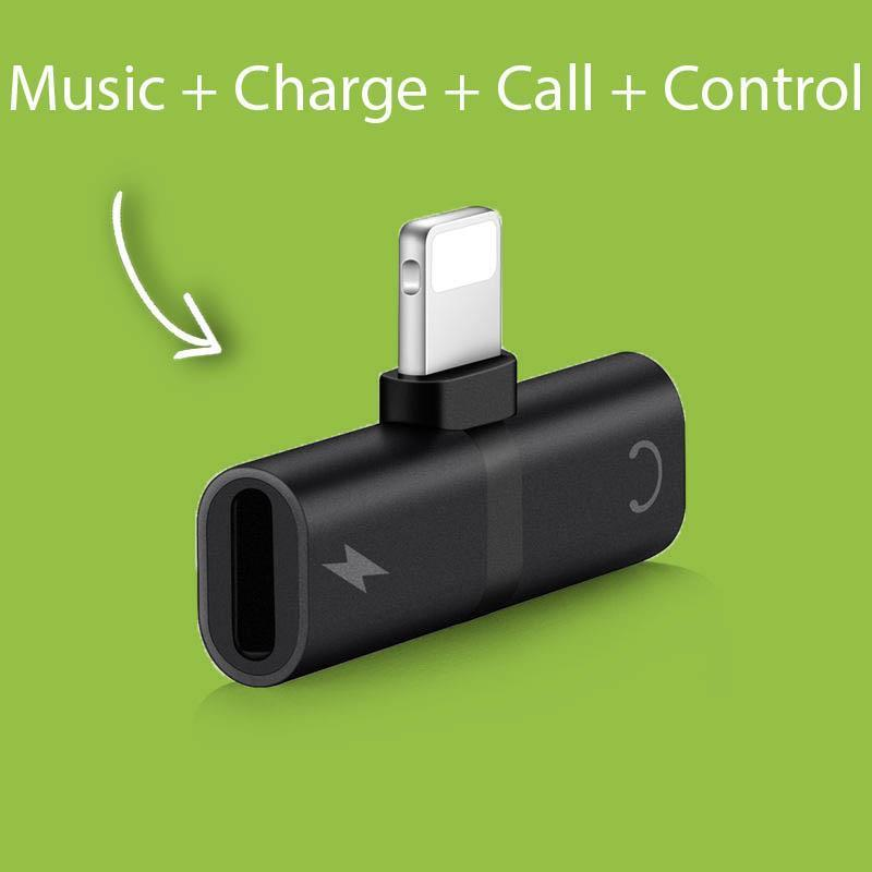 4 in 1 Lightning Adapter for iPhone Charging + Music + Calling + Remote Control