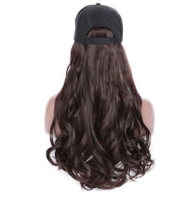 2020 Ins Hot Brown Black Wave Wig With Hat