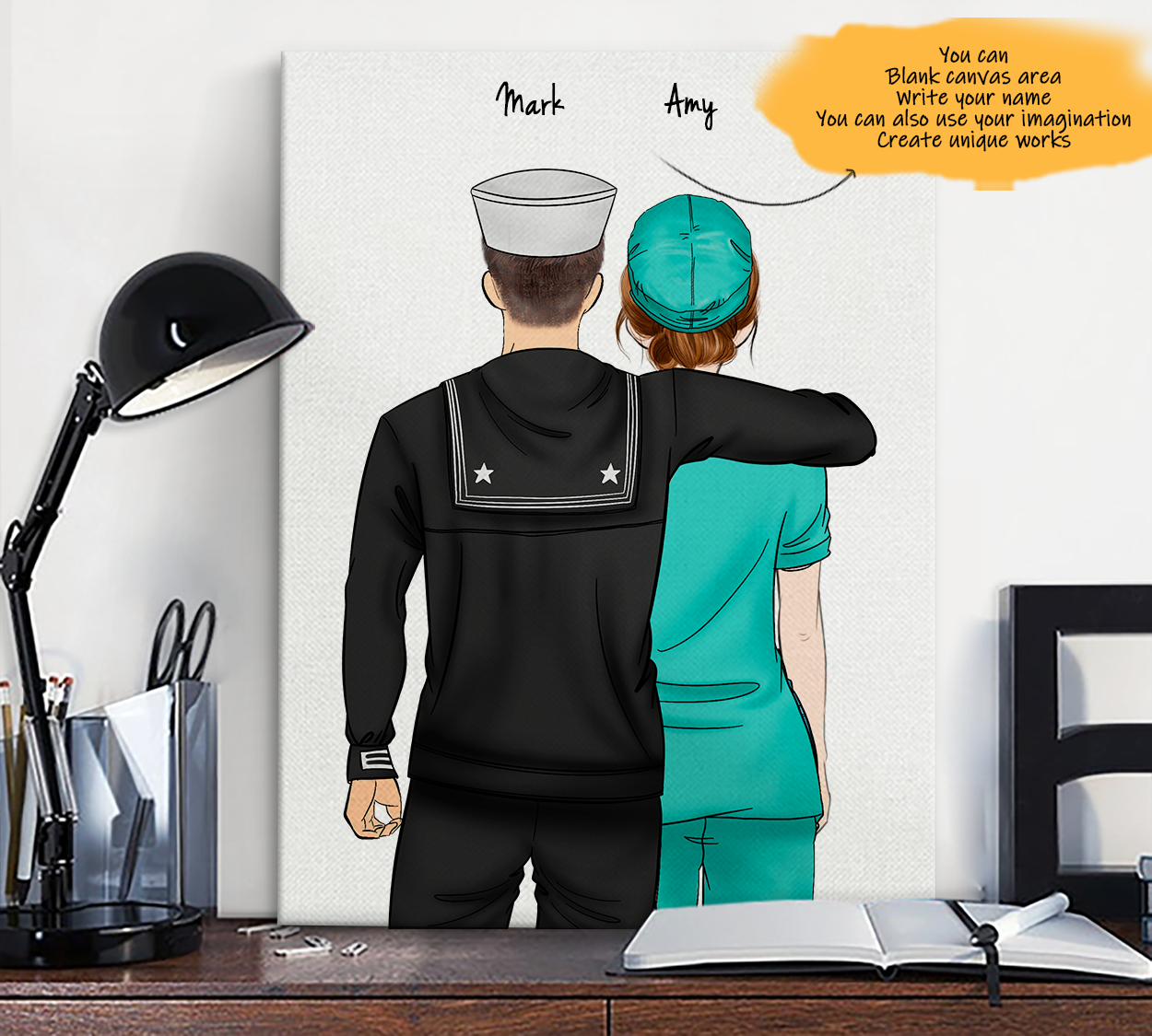 He is My Friend! Hand Draw Custom Canvas-Print Gift NavyUS-Light&Nurse2