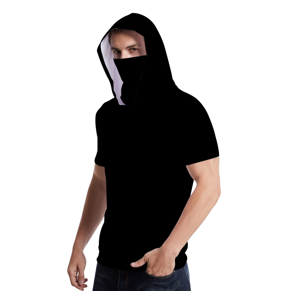 New Fashion Men Hooded short-sleeve T-shirt with neck gaiter