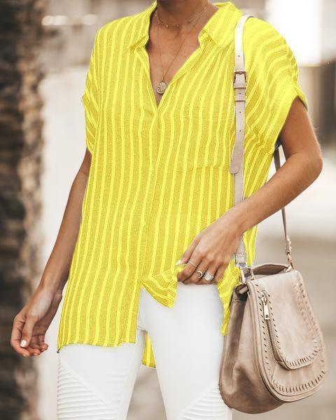 Women Casual Striped Relaxed Fit Button Down Top