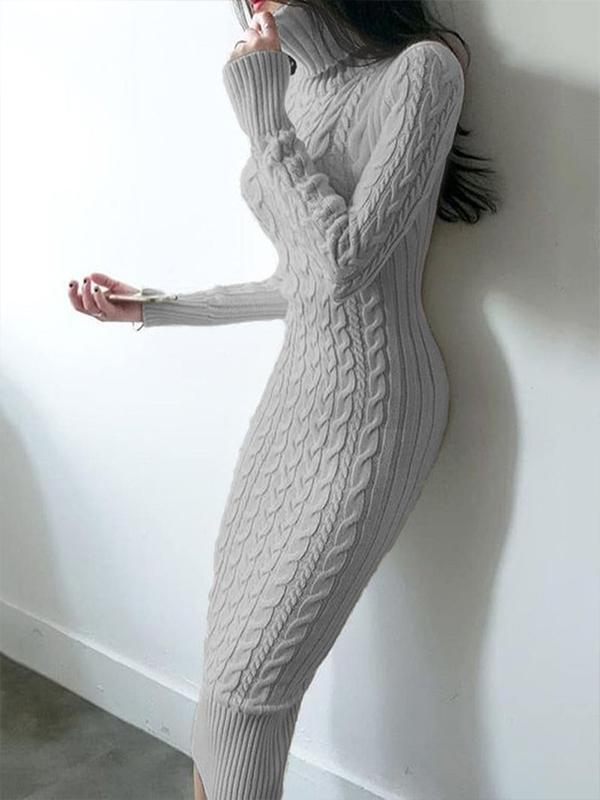 Turtleneck Mid-Calf Long Sleeve Pencil Casual Dress