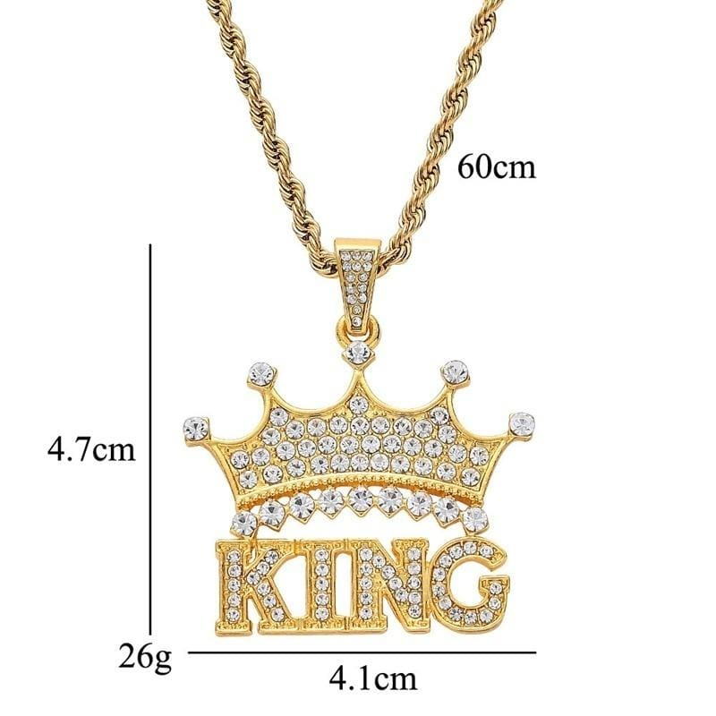 Hip Hop Full Rhinestone Crown King Queen Couple Pendants Necklaces Bling Bling Cuban Link Chain Hiphop Necklace Men Jewelry Gift