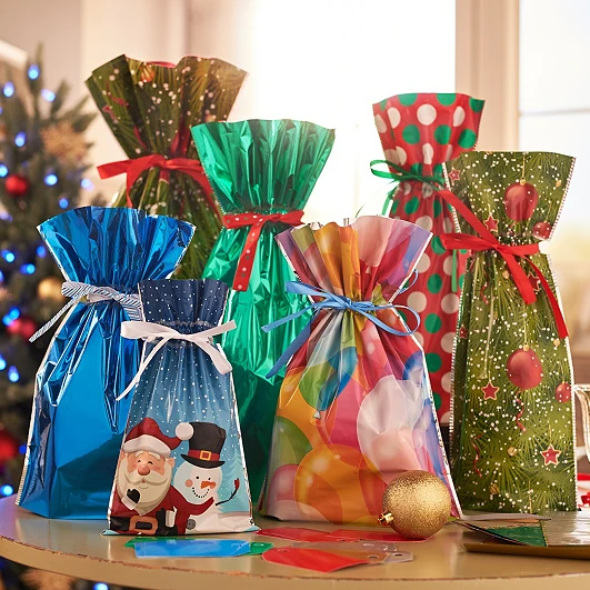 (🎅EARLY XMAS SALE - 50% OFF) Drawstring Christmas Gift Bags (10 Sets) - BUY MORE SAVE MORE