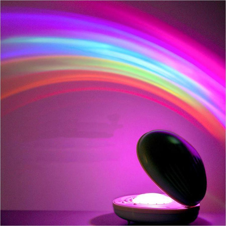 Portable USB Rechargeable Shell Rainbow Projector Night Light