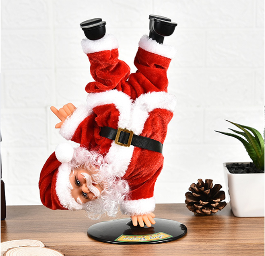 Electric Street Dancing Handstand Santa Singing Musical Toy Christmas Ornament for Decoration Home Party Battery Operated