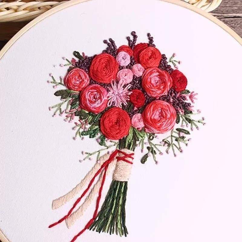 DIY Embroidery Handwork Needlework for Beginner Cross Stitch Kits With Embroidery Hoop Home Decor(8Inch/20cm)