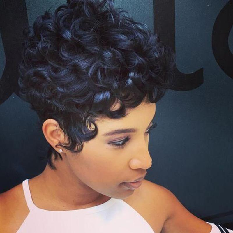 Luna A85 African American Short Curly Black Hair Wig for Women