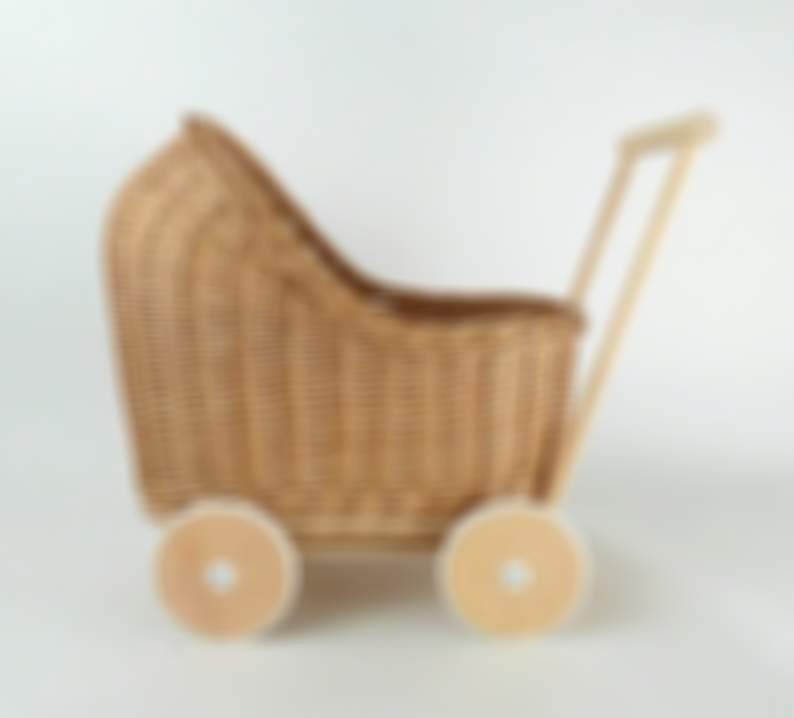Wiklibox wicker & beech wood doll's pram in NATURAL color with rubber wheels cover. Variants are available. Eco-friendly baby walker