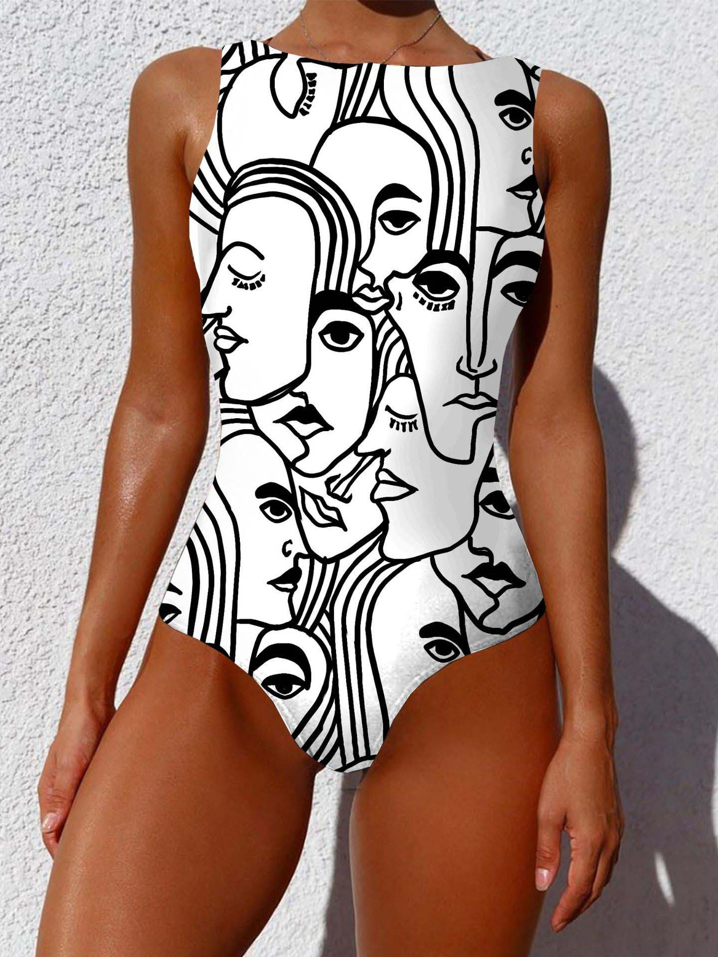 Personalized Abstract Print One-piece Swimsuit