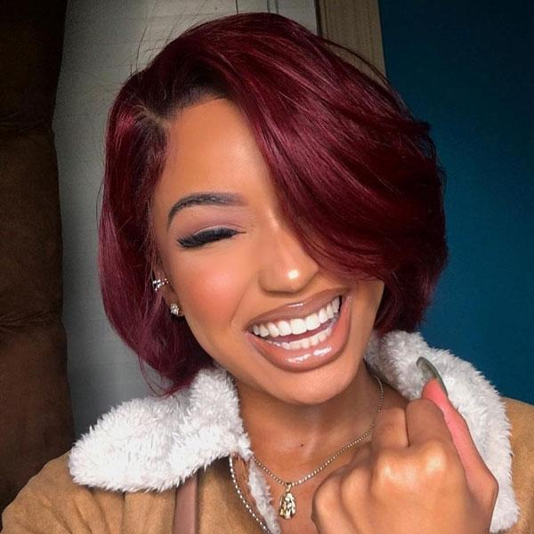 Wine red black root front lace wig
