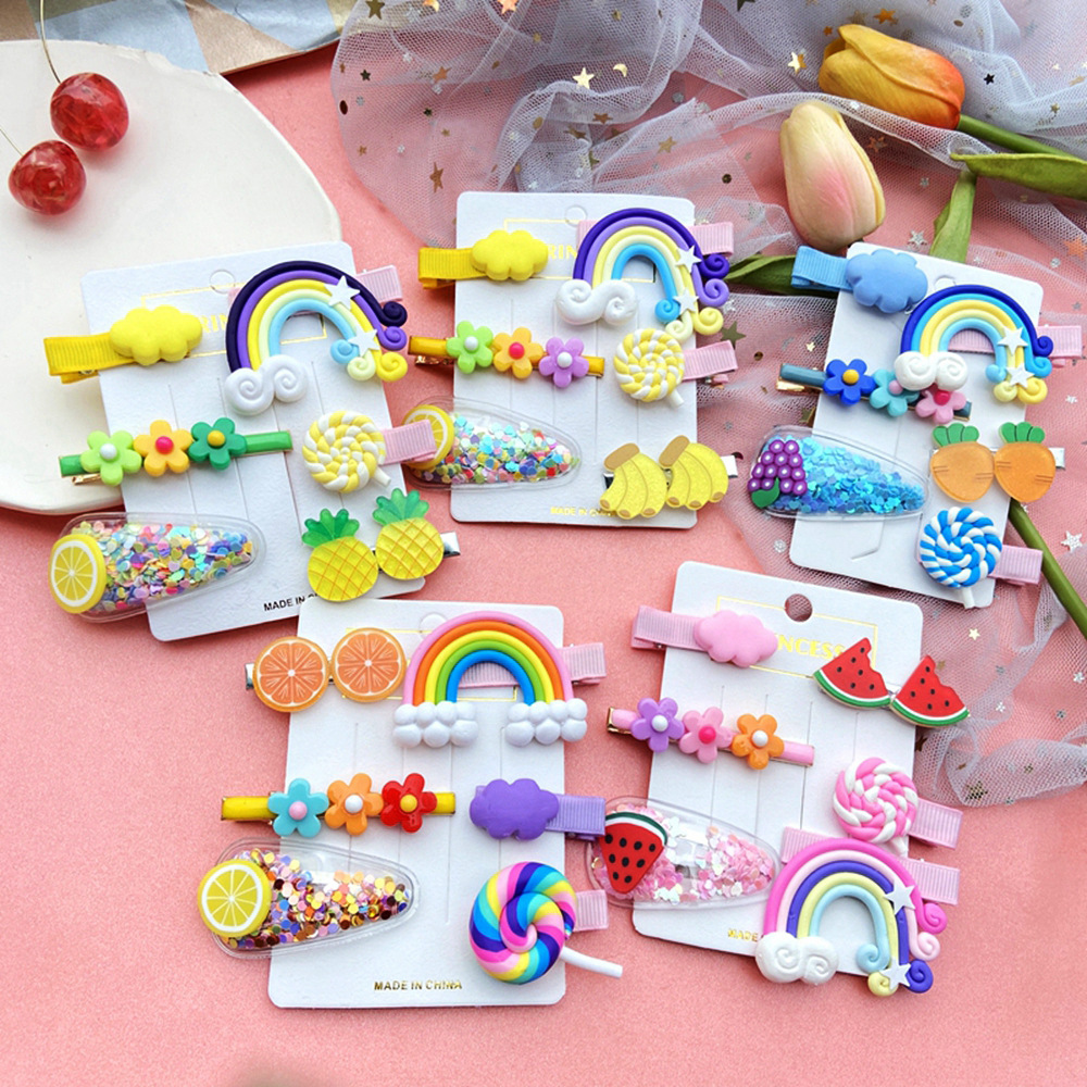 Girls Cute Rainbow Fruit Sponge Color Barrette Sweet Hairpin Child Children Fruit Hairclip Hair Clip Set