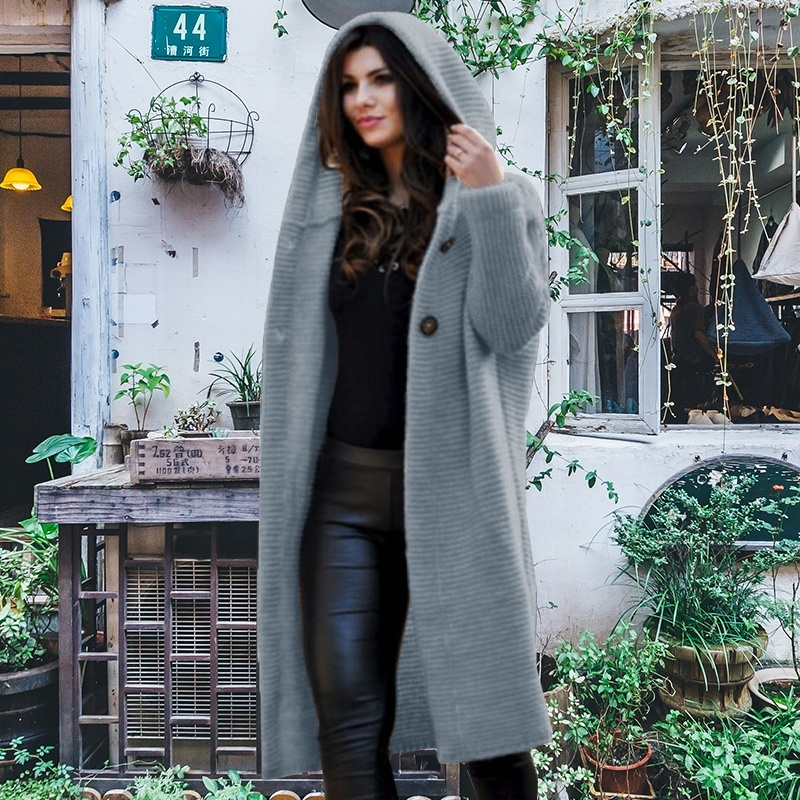 Women Fashion Casual Solid Color Thick Soft Long Loose Knitwear Jacket Autumn Winter Warm Hooded Coat Cashmere Cardigan Sweater Overcoat Plus Size S-5XL