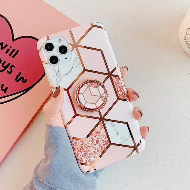 Pink Marble Case + Ring Holder
