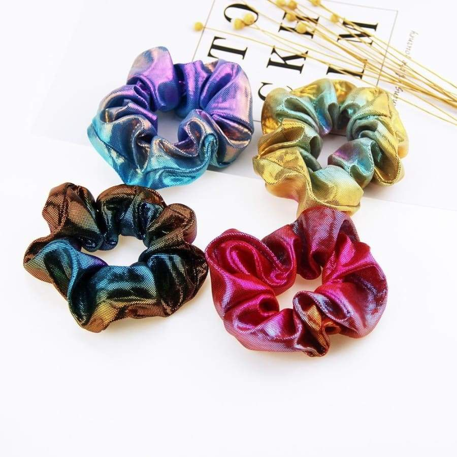 4/8/12Pcs Metallic Rainbow Fabric Hair Circle Elastic Hair Bands Scrunchy Hair Ties Ropes Scrunchie for Women or Girls Hair Accessories(Color Mixing Random)