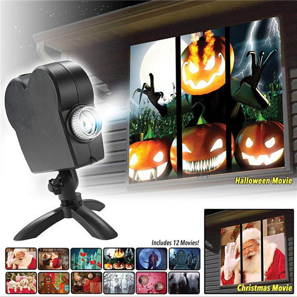 12 Movies Halloween Window Projector Display Lamp for Christmas & Halloween Window Wonderland Projector | Free Shipping