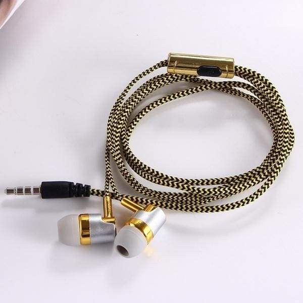 KY-384# Nylon Braided Headset Wired Earphone With  Microphone Portable Audio And Video Device