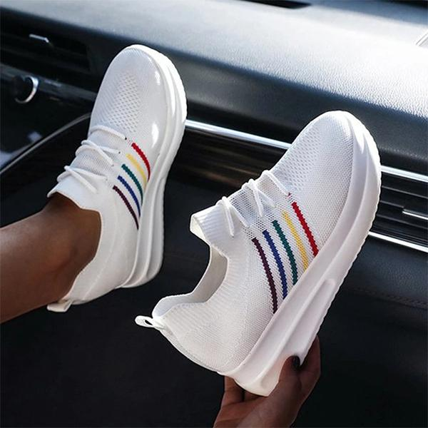 Zoeyootd Fashion Flyknit Fabric Color-Blocking Sneakers