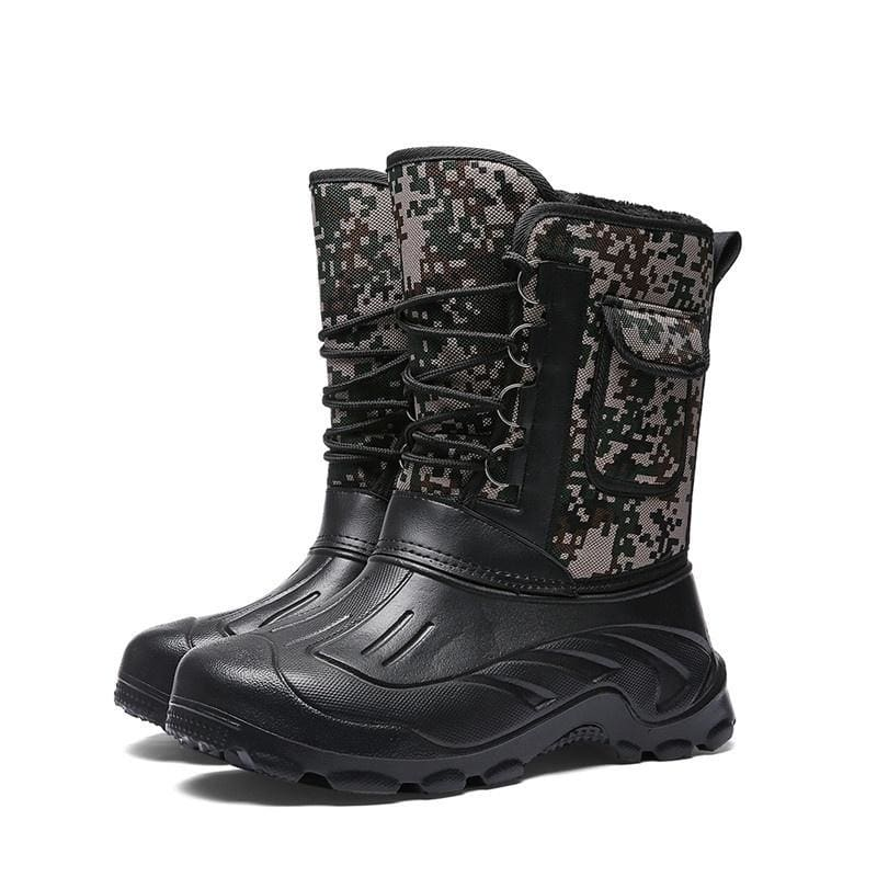 Plus Size Mens Fashion Waterproof Boots Outdoor Hiking Fishing Keep Warm Boots Plus Velvet
