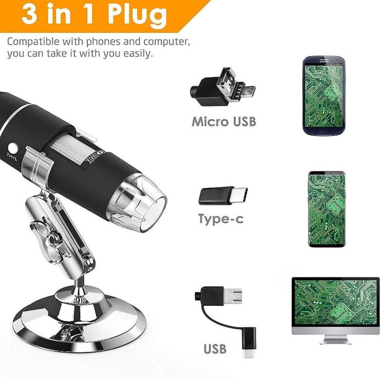 1600X USB DIGITAL MICROSCOPE CAMERA ENDOSCOPE 8LED MAGNIFIER WITH METAL STAND