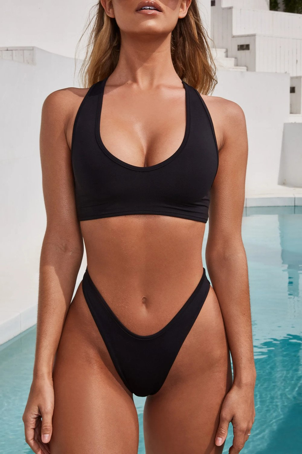 Solid Color Two-Piece Simple Swimwear