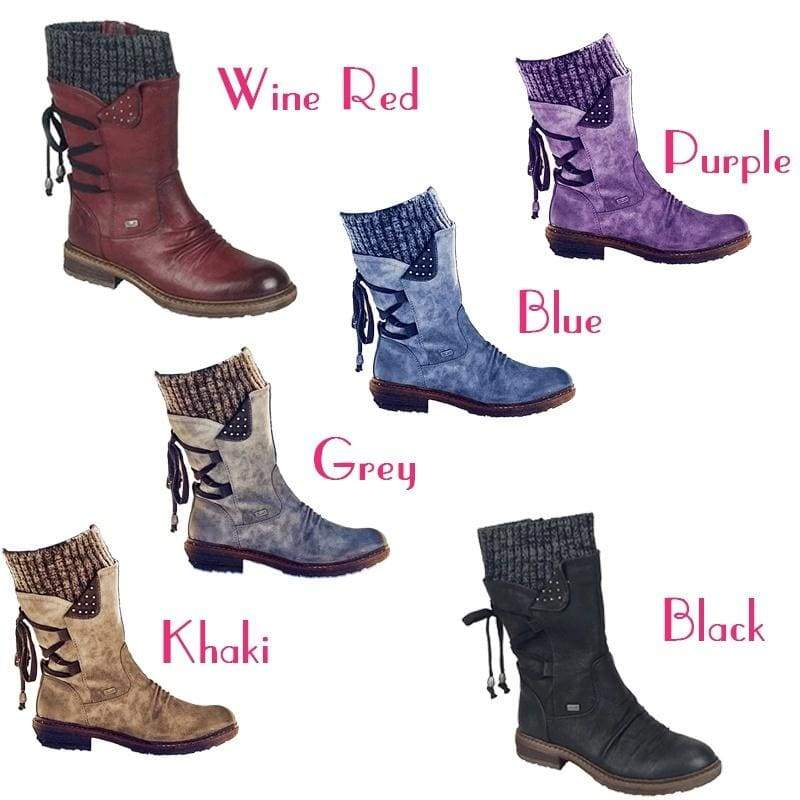 Women's Winter Suede Chunky Heel Midcalf Boots Casual Warm Back Lace Up Decoration Boots Zipper Round Toe Snow Boots Bottines Femme