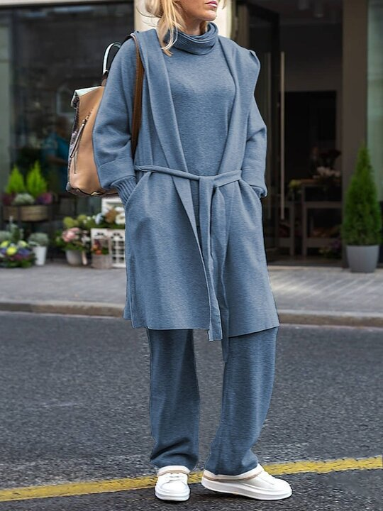 Loose Casual Long Sleeve Pocket Pullover Pants Coat Three Knit Set