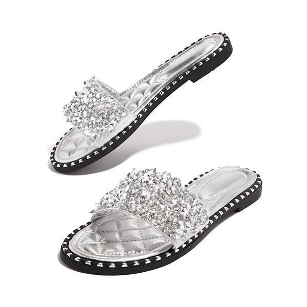 Faddishshoes Fashion Embellished Open Toe Slippers