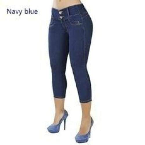 2018 Womens Fashion Jeans Pants Top Quality High Elastic Pencil Pants Women Casual Cotton Skinny Highwaisted Jeans Trouser S-XXL Winter and Autumn Fashion Jeans