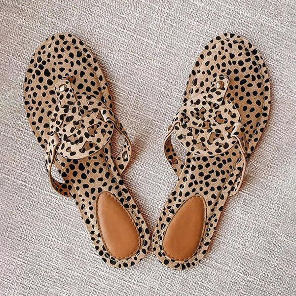 Lalarosa Leopard Printed Hollow Out Beach Slippers
