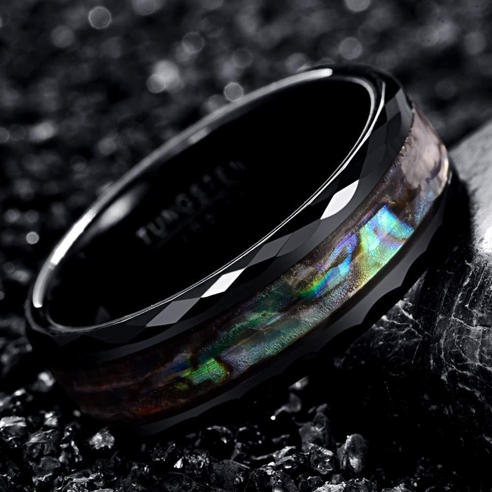 8mm Abalone Shell Tungsten Carbide Rings Unisex Wedding Bands Faceted Edge Comfort Fit Size 6-13