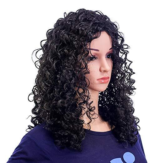 New Wigs Afro Curly Long Narural Black Curly  Hair Synthetic Glueless Frontal Lace Wigs for Black Women