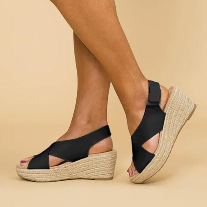 Crossed Strap Peep Toe Magic Tape Wedge Sandals For Women Summer