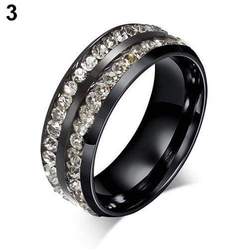 Womens Men's Fashion Double Rows Crystal gold silver black Titanium Steel Wedding Jewelry Ring 6-11